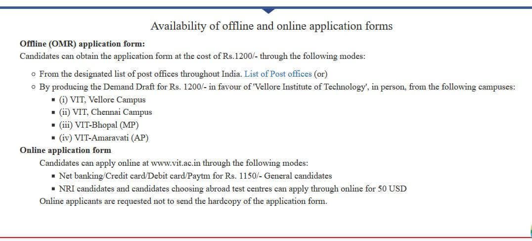 VIT Application Form