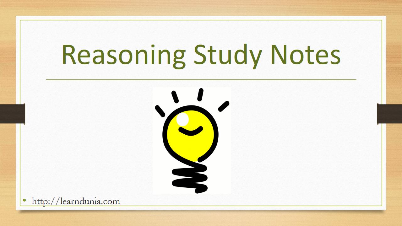 Reasoning Study Notes