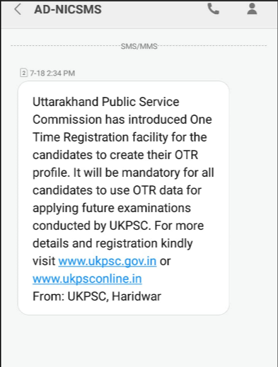 UKPSC one Time Registration