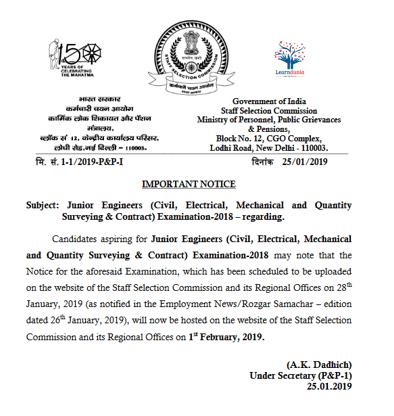 SSC JE Notice
