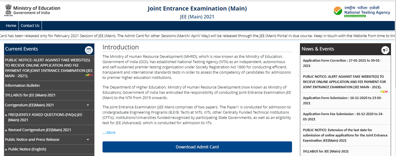JEE Mains Admit Card Download