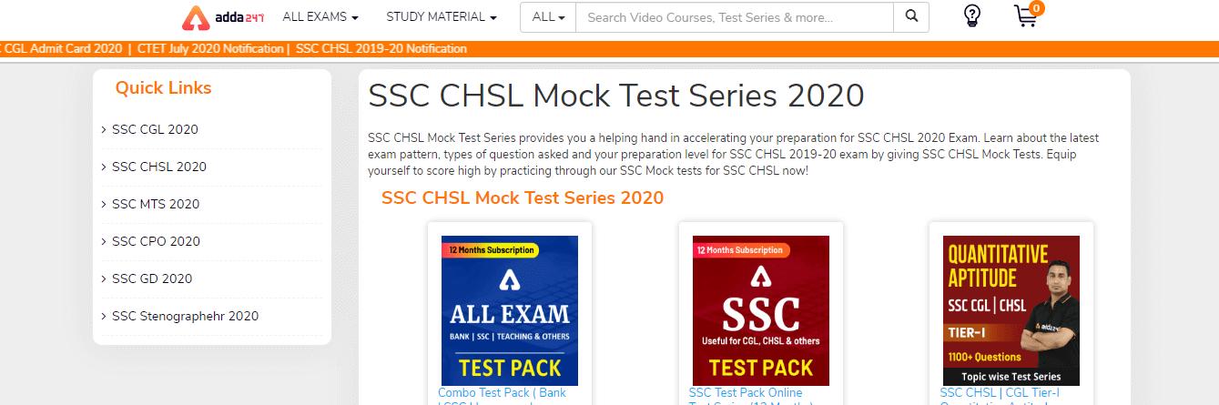 SSC CHSL Mock Tests by Adda247