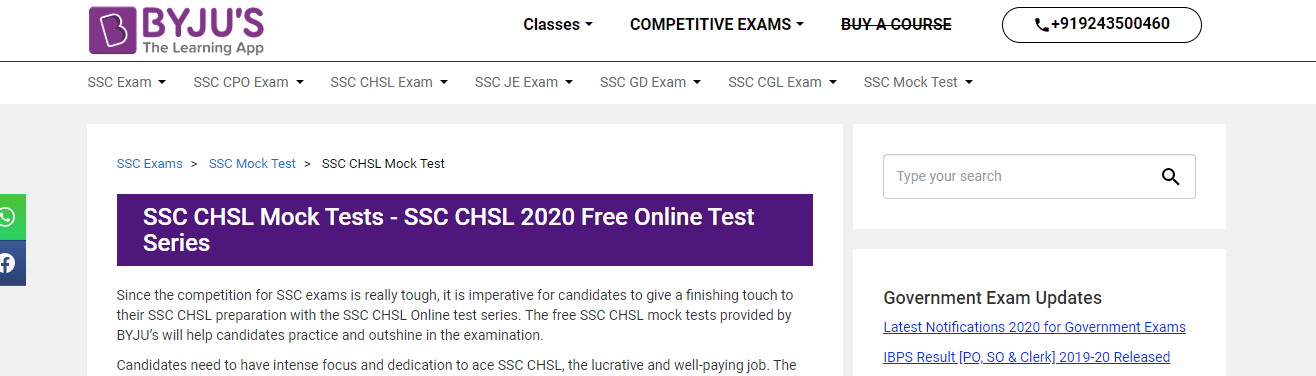 SSC CHSL Mock Tests by Byjus