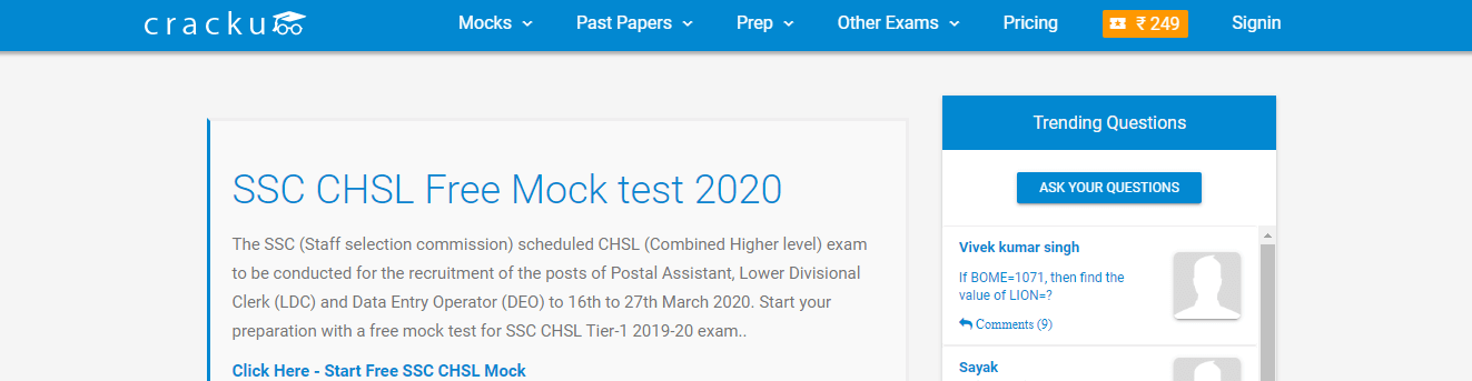 SSC CHSL Mock Tests by Cracku