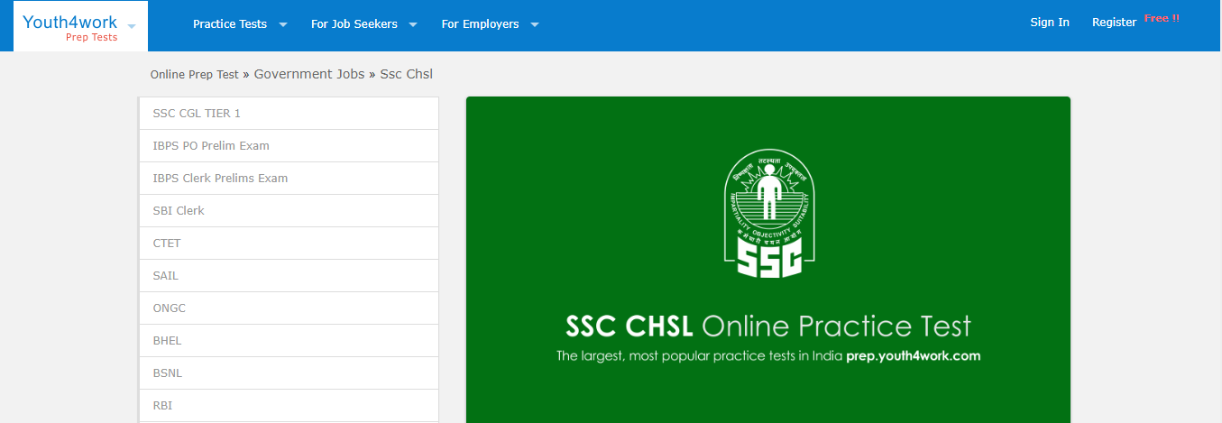 SSC CHSL Mock Tests by Youth4work